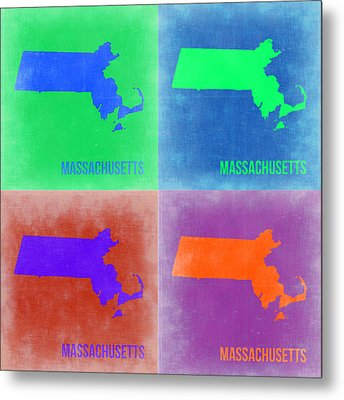 Massachusetts Pop Art Map 2 Metal Print by Naxart Studio