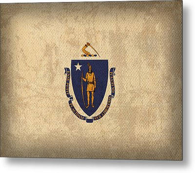 Massachusetts State Flag Art On Worn Canvas Metal Print by Design Turnpike