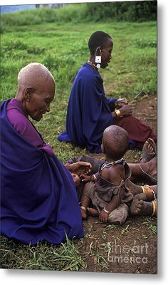Massai Women And Child - Tanzania Metal Print