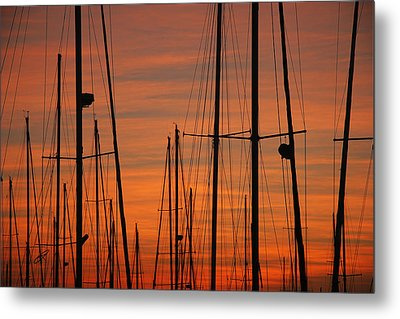 Masts At Sunset Metal Print