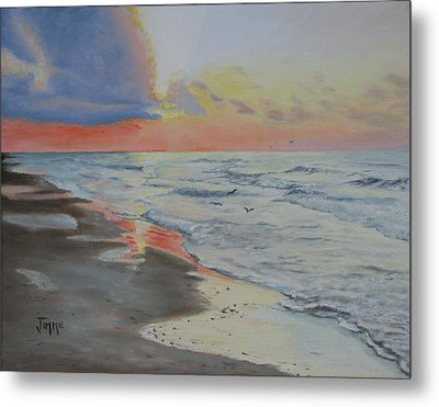 Metal Print featuring the painting Matagorda Beach Sunrise by Jimmie Bartlett