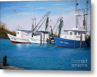 Metal Print featuring the painting Matagorda Boats by Jimmie Bartlett