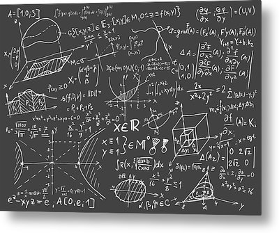 Maths Blackboard Metal Print by Gina Dsgn