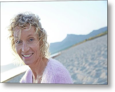 Mature Woman On Beach Metal Print by Ruth Jenkinson