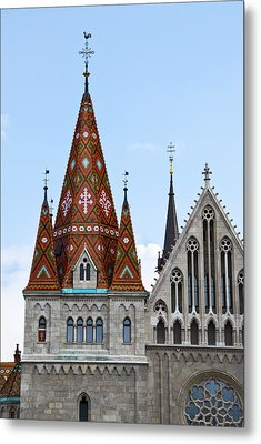 Matyas Church With Glazed Tiles In Budapest Hungary Metal Print