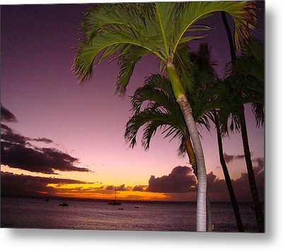 Metal Print featuring the photograph Maui Seascape And Palms by Tamara Bettencourt