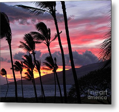 Maui Sunset Metal Print by Peggy Hughes