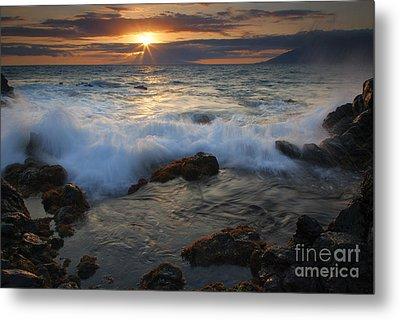 Maui Sunset Spray Metal Print by Mike  Dawson