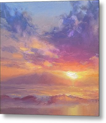 Maui To Molokai Hawaiian Sunset Beach And Ocean Impressionistic Landscape Metal Print by Karen Whitworth