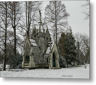 Metal Print featuring the photograph Mausoleum In Winter by Kathy Barney