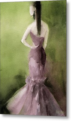 Mauve Evening Gown Fashion Illustration Art Print Metal Print
