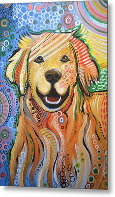Max ... Abstract Dog Art...golden Retriever Metal Print by Amy Giacomelli