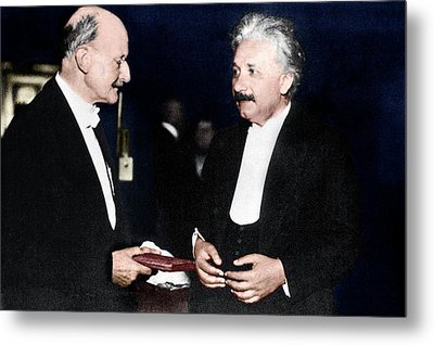 Max Planck And Albert Einstein Metal Print by Science Photo Library