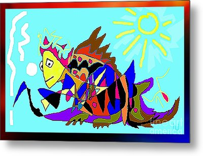 Metal Print featuring the digital art Max The Magic Dragon by Hartmut Jager