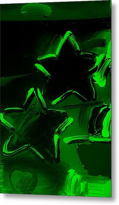 Max Two Stars In Green Metal Print by Rob Hans