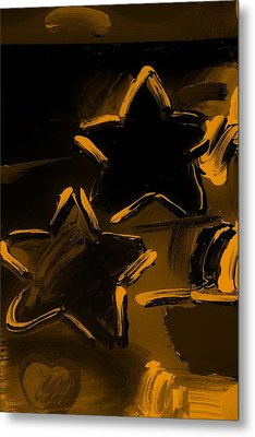 Max Two Stars In Orange Metal Print by Rob Hans