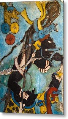 Mayan Fresco I Metal Print by John  Bartosik
