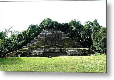Mayan Temple Belize Lamanai Metal Print by John Potts