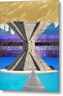 Mayan Temple Ships On 2 Worlds At Once Metal Print by Bruce Iorio