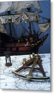 Mayflower Model With Quadrant Metal Print by Fred Maroon