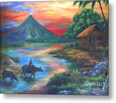 mayon sunset-repro from Amorsolo's work Metal Print by Manuel Cadag