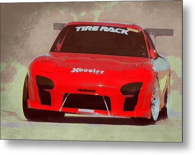 Mazda Rx7 Race Car Pop Art Metal Print