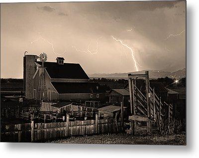 Mcintosh Farm Lightning Sepia Thunderstorm Metal Print by James BO  Insogna