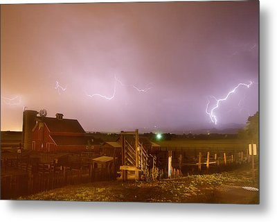 Mcintosh Farm Lightning Thunderstorm View Metal Print by James BO  Insogna