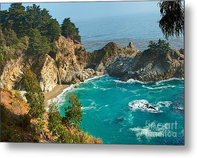 Mcway Falls Along The Big Sur Coast. Metal Print by Jamie Pham