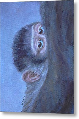 Metal Print featuring the painting Me And My Mandrill Mother by Margaret Saheed