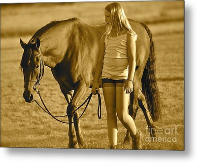 Metal Print featuring the photograph Me And My Pony by Barbara Dudley