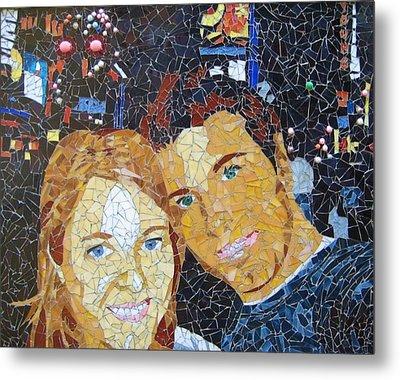 Me And Santi In Times Square Metal Print by Rachel Van der pol