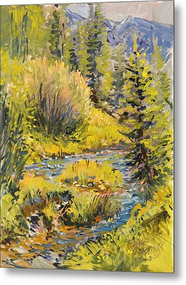 Metal Print featuring the painting Meadow Creek Montana by Steve Spencer