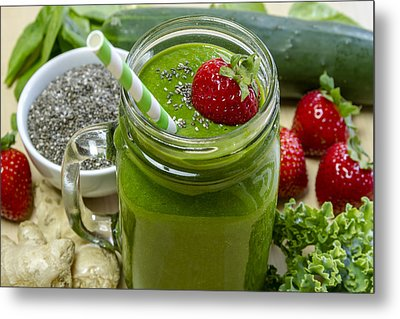 Mean Green Raw Food Smoothie Metal Print by Teri Virbickis
