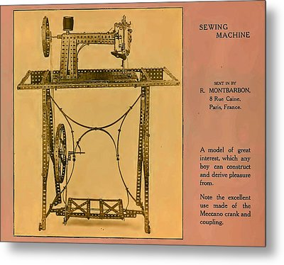 Meccano Steampunk Sewing Machine Which Any Boy Can Construct  Metal Print