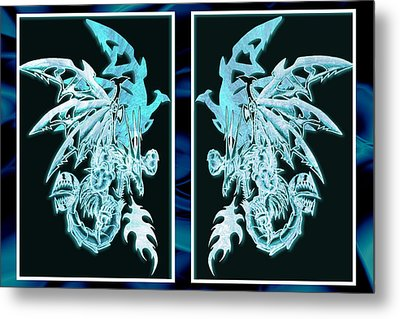 Mech Dragons Diamond Ice Crystals Metal Print
