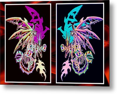 Mech Dragons Pastel Metal Print