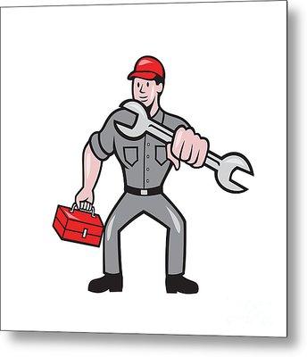 Mechanic Punching With Spanner Cartoon Metal Print by Aloysius Patrimonio