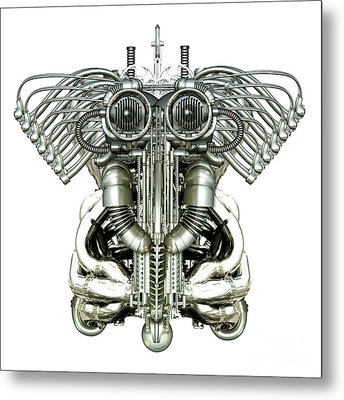 Mechanical Figure Metal Print