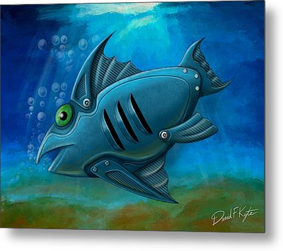 Mechanical Fish 4 Metal Print by David Kyte