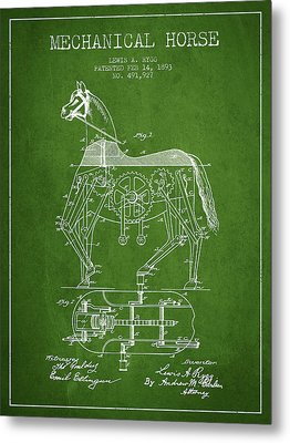 Mechanical Horse Patent Drawing From 1893 - Green Metal Print by Aged Pixel