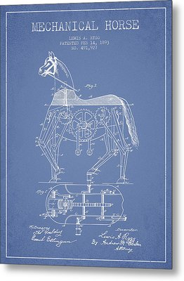 Mechanical Horse Patent Drawing From 1893 - Light Blue Metal Print by Aged Pixel