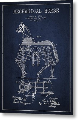 Mechanical Horse Patent Drawing From 1893 - Navy Blue Metal Print by Aged Pixel