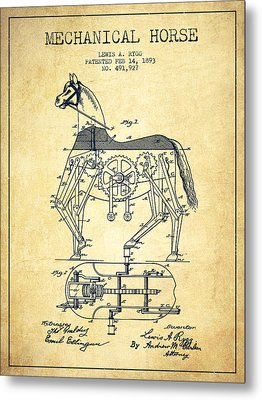 Mechanical Horse Patent Drawing From 1893 - Vintage Metal Print by Aged Pixel