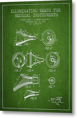 Medical Instrument Patent From 1964 - Green Metal Print by Aged Pixel