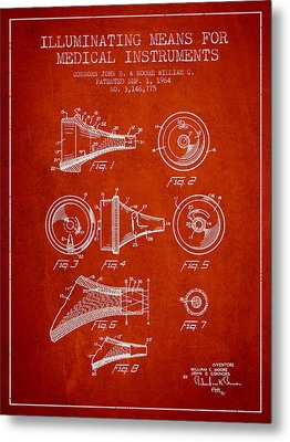 Medical Instrument Patent From 1964 - Red Metal Print by Aged Pixel