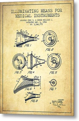 Medical Instrument Patent From 1964 - Vintage Metal Print by Aged Pixel