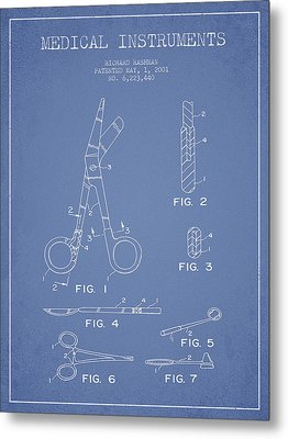 Medical Instruments Patent From 2001 - Light Blue Metal Print by Aged Pixel