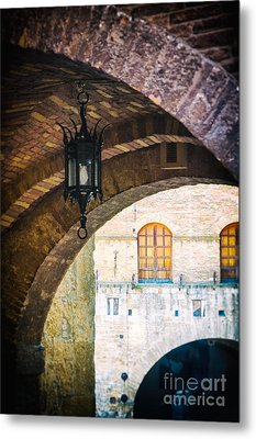 Metal Print featuring the photograph Medieval Arches With Lamp by Silvia Ganora