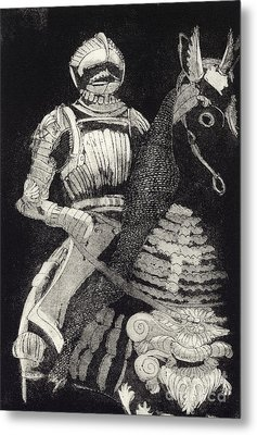 Metal Print featuring the painting Medieval Knight On Horseback - Chevalier - Caballero - Cavaleiro - Fidalgo - Riddare -ridder -ritter by Urft Valley Art